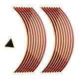 MagiDeal 1 Set Reflektierende Rad Aufkleber Klebeband Motorradfelgen Felgenrandaufkleber Streifen Rad Sticker und Aufkleber - rot