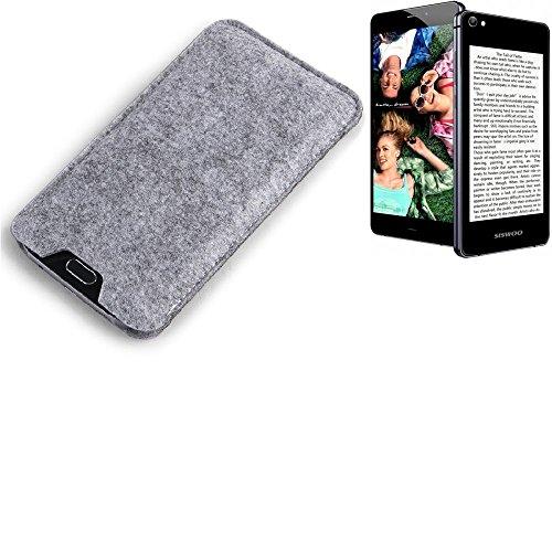 K-S-Trade Filz Schutz Hülle für Siswoo R9 Darkmoon Schutzhülle Filztasche Filz Tasche Case Sleeve Handyhülle Filzhülle grau