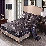 RUIMENGMENG 4-teiliges Bettlaken-Set, einfarbig, faltenfrei Bettlaken- und Kissenbezugsets Steinmuster - schwarz Twin