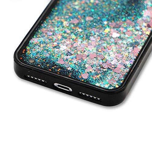 SKYXD Antiurto Morbido Silicone Gel TPU Custodia per iPhone 5S iPhone SE/5,Cover 3D Creativo Disegni Lusso Bling Glitter Clessidra Liquido Sabbie Stella Nero Opaca Coperture Protettive Back Case per i Colore 04