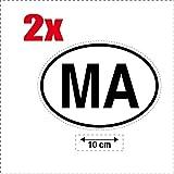 2x Autocollant sticker drapeau oval code pays voiture moto MA-MAROC