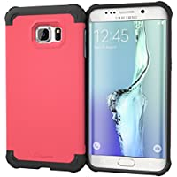 Galaxy S6EDGE + funda, roocase [Exec rígida] S6Edge + Slim Fit Case Hybrid PC/TPU [esquina protección] Armor carcasa para Samsung Galaxy S6EDGE PLUS (2015), Coral rosa