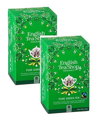 English Tea Shop Green Tea Pure Green Organic Tea and Fairtrade Awarded Tea Collection Handpicked from Sri Lanka - 2 x 20 Sachets (80 Gram)