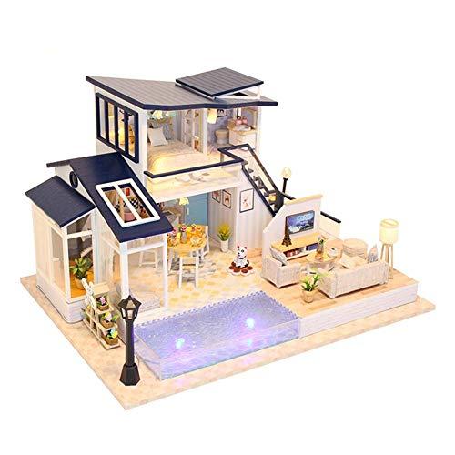 Domybest Casa delle Bambole in Legno Fai da Te Miniature Casa delle Bambole con Mobili Giocattolo di Casa DIY Modello da Costruire Artigianato