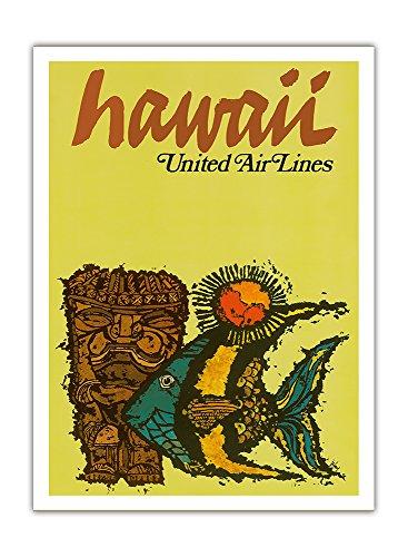 Hawaii - United Air Lines - Tiki Und Maurische Idol (Kihi Kihi) Fische - Vintage Retro Hawaii Reise Plakat Poster von Jebavy c.1967 - Premium 290gsm Giclée Kunstdruck - 30.5cm x 41cm -
