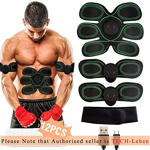 WiMiUS EMS Elektrische Muskelstimulation, USB Wiederaufladbar EMS Trainingsgerät für Arm Bauch Beine Bizeps Trizeps, Herren Damen EMS Bauchmuskeltrainer 8 Modi & 10 Funktionen, Gel Pad 12PCS (Grün)