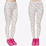 BStrongplus Women Stretchable Printed Yoga Pant, Sports Gym Running Workout Leggings Tights (Fits Small - Medium) (White Polka, Free Size)