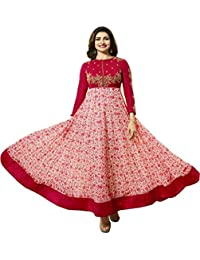 VIHA Women's Faux Georgette Dress Material (Prachi_Print_Red_SS_Free Size_Red)