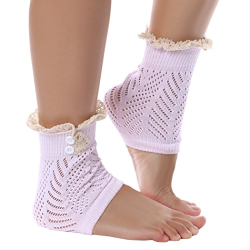 Stulpen - All4you 21,5 cm Frauen Kabel stricken Taste Stulpen Boot Socken Stulpen mit Spitze Trim(Pink) (Boot-steigbügel)