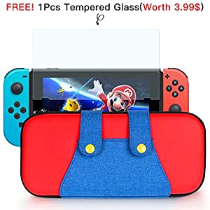 Carrying Case for Nintendo Switch,Nintendo Switch Case 10 Game Card Holders Mario Designed and Large Accessories Pouch - Blue/Red