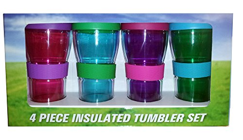 Four Piece Colorful Shatter Resistant Double Wall Insulated Tumbler Set by Sam's West Double Wall Tumbler