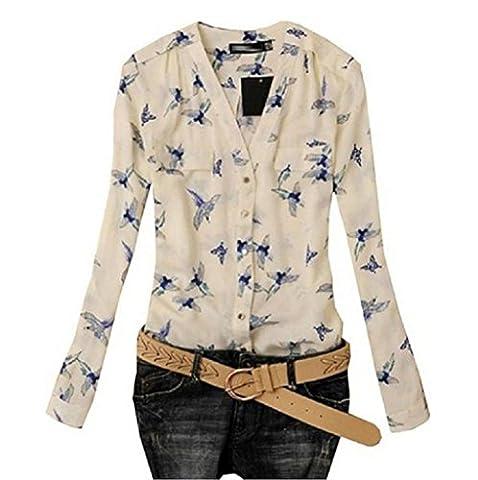 Tonsee® Femmes ' s Fashion Oiseau Print Blouse Manches Longues Chemises Slim Sport (L)