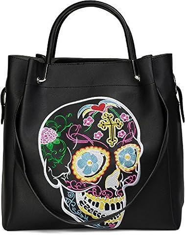 Sac A Main Avec Tete De Mort - styleBREAKER sac cartable avec motif calavera brodé,