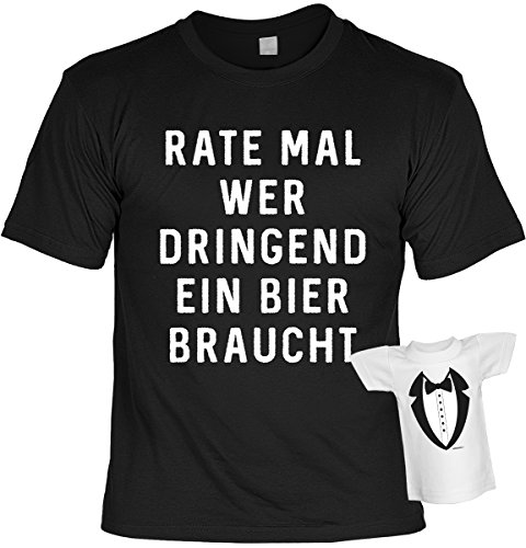 Fun-Artikel-Sprche-T-Shirt-Set-mit-Mini-T-Shirt-Rate-mal-wer-dringend-ein-Bier-braucht-lustiges-Geschenk-Geschenkartikel