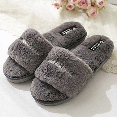 grigio2 un soggiorno Home pantofole Blu di antiscivolo Inverno pantofole lana incantevole Bow DogHaccd Autunno Tie Inverno piatto in spessore pantofole cotone qzRnx8