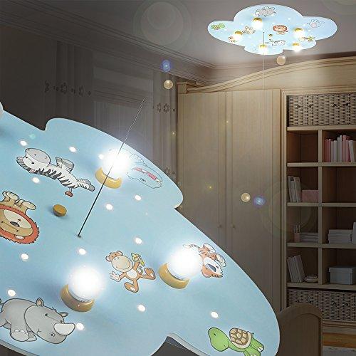 MIA Light Wolke Decken Leuchte LED/ Blau/ Lampe Afrika Löwe Wilde Tiere Deckenlampe Deckenleuchte Kinderlampe Kinderleuchte Kinderzimmer Kinderzimmerbeleuchtung Kinderzimmerlampe Kinderzimmerleuchte Sternenhimmel