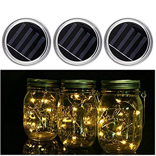 3Pack-Mason jar Solar lichten, 10LED String Lights deksel insert voor bruiloft Kerstmis vakantie Party decoratieve licht, hängelampen voor tuin, patio, Outdoor Party (glazen niet inbegrepen).
