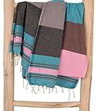 ZusenZomer Hamamtuch XXL Casablanca 200x200 Schwarz Blau Rosa - Hamam Badetuch Handtuch Fouta Gross und Weich - 100% Baumwolle - Fair Trade Hammam Tücher