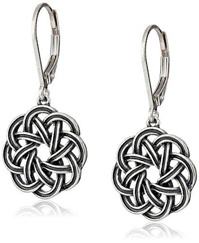Amazon Sterling Silver Oxidized Celtic Knot Lever-Back Drop Earrings