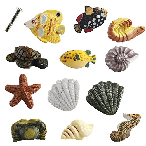 Coastal Crab (Creation Core marine Serie Rsin Decor Schrank Griff Knopf für Schubladen oder Türen 12Fisch Seestern Seepferdchen Garnelen Schildkröte Crab Conch Shell Griffnoppen, mehrfarbig)