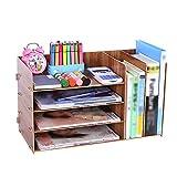 QFFL zhuomianshujia Desktop-Aufbewahrungsbox Büro-Regal aus Holz Aktenablage aus Holz mehrlagig (3 Farben, 3 Stile) Bücherregale (Farbe : Kirschholz, größe : 48×23×28cm)