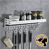Wangel Küchenhalterung ohne Bohren mit 7 Haken, Küchenregal für Gewürze, Hakenleiste Küchenhelfer Hängeleiste, Patentierter Kleber + Selbstklebender Kleber, Aluminium, Matte Finish