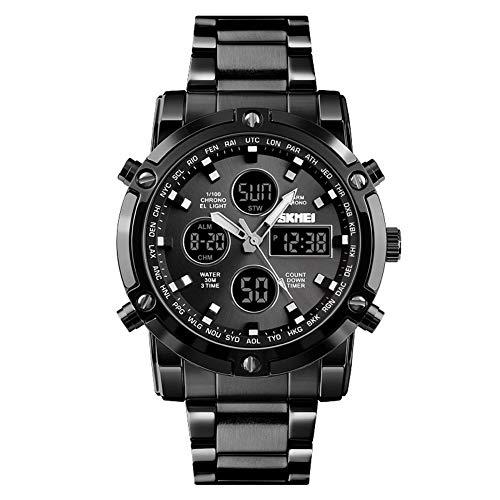 WENQAN Mode, Geschäftszeiger + digitales Dual-Display, elektronische Uhr, Multifunktions-, Stahlband, großes Zifferblatt, dreimal, wasserdichte Herrenuhr-A -