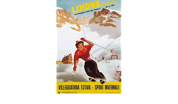 TV45 Vintage A4 1926 Winter Sport Italy Italian Ski Skiing Travel Poster Print