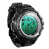TEKMAGIC Digitale Sport-Tauchuhr 100 m Wasserdichte Armbanduhr mit Elektro-beleuchtetem Licht und...