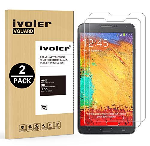 iVoler Kompatibel für Panzerglas Schutzfolie Samsung Galaxy Note 3 [9H Härte] [Anti- Kratzer] [Bläschenfrei] [2.5D Runde Kante], [2 Stücke]