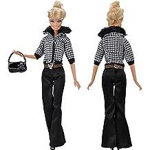 E-TING Vestito bambola vestiti Jeans con scarpe borsa per bambole Barbie (Bambola Non è Incluso)