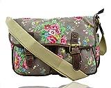 LeahWard® Damen Mode Satchel Taschen Kid's Damen Qualität Segeltuch Eule Schmetterling Blume Drucken Umhängetasche Handtasche CWC6072 (CWC6072-F-Grau)
