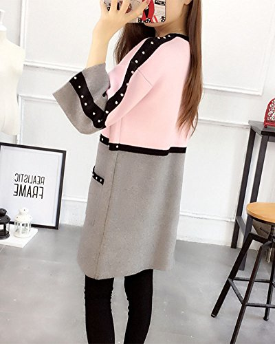 Donne Maglione del Cappotto Cardigan con Girocollo Manica Lunga Outwear con Tasca Pink