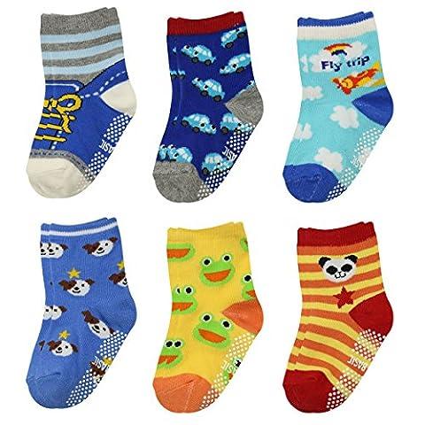 GOPOWD 6er Pack Baby ABS rutschfeste Socken für 0-36 Monate