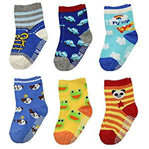 GOPOWD 6 pares Bebé Calcetines Antideslizantes ABS para los 1-36 Meses Niños Color Aleatorio 4