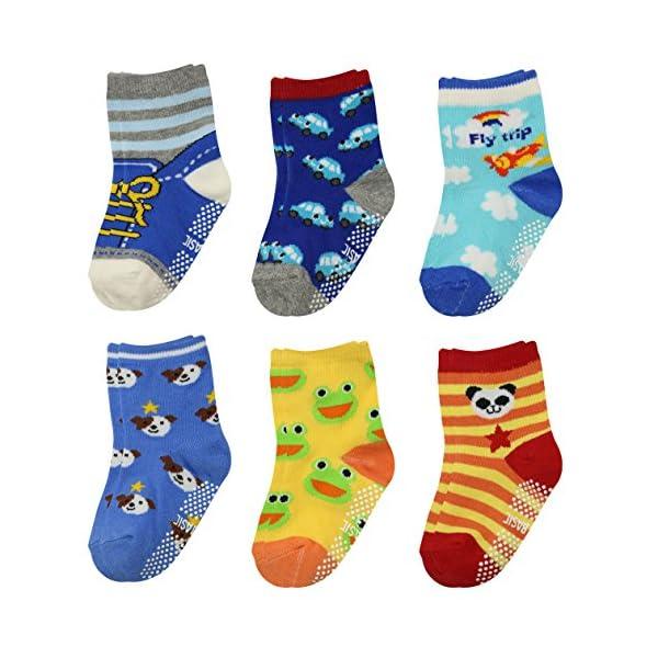 GOPOWD 6 pares Bebé Calcetines Antideslizantes ABS para los 1-36 Meses Niños Color Aleatorio 1