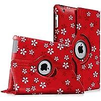 Fintie iPad 4 / 3 / 2 Custodia in pelle - Slim girevole Smart 360 gradi di rotazione Case Cover Custodia Protettiva con Funzione sonno auto / sveglia la funzione per Apple iPad 2 / 3 / 4 Retina, Floral Red