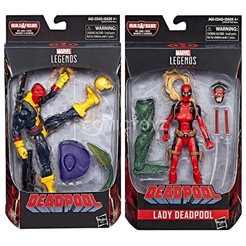 COMICTOYZ Marvel Legends Deadpool (X Men T-Shirt) Action Figure and Lady Deadpool Action Figure Two Pack
