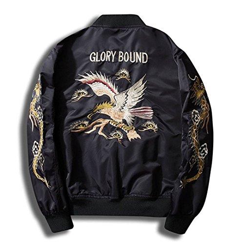 Frühling Herbst Jacke Mantel Bomber Jacket Men Fell Kragen Dragon Stickerei lässige Mode Polit Jacken Männer Schwarz M Stand