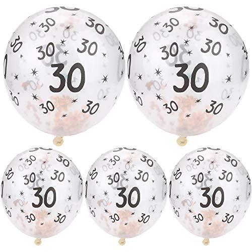 Yooshen Luftballons Ballons mit schillerndem Konfetti, 5 Stück, aus Latex, für Hochzeiten, Geburtstage, Junggesellinnenabschied, Verlobungsparty Rose Gold Dots (A)