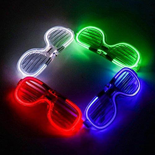 Weiye Leuchtende Brille, LED-Sonnenbrille, Neonblende, elektrolumineszierend, Blinkende LED-Sonnenbrille mit Batteriegehäuse, Controller für Halloween, Weihnachten, Geburtstag, Party