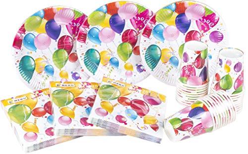 Heku 30005 - set da festa usa e getta, con piatti, bicchieri e tovaglioli, 120 pezzi party ballons