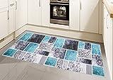 Teppich Modern, Flachgewebe, Gel-Läufer, Küchenteppich,Grau Tukis (TraumTeppich) Größe 80 x 250 cm