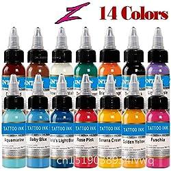14 colores tatuajes de tatuajes con tinta de artista color permanente pigmento tatuaje pigmento pintura corporal tatuaje tinta 1 oz/botella