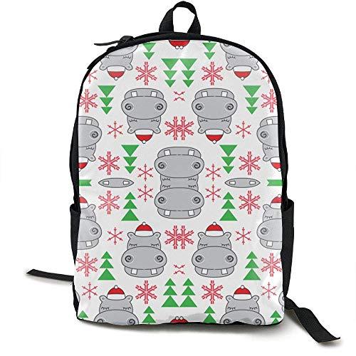 Laptop Rucksack Weihnachten Hippos Santa Hüte Computer Tasche College School Rucksack Frauen Männer