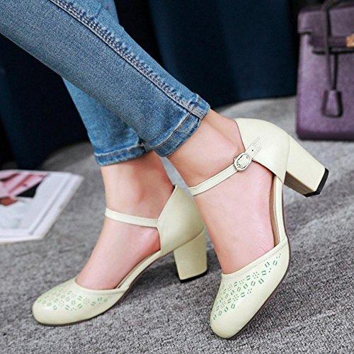 TAOFFEN Femmes Sandales Mode Bloc Talons Moyen Cut-out Chaussures De Boucle Vert