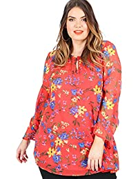 Lovedrobe Women/'s Plus Size Red Blouse with Frill Detailing