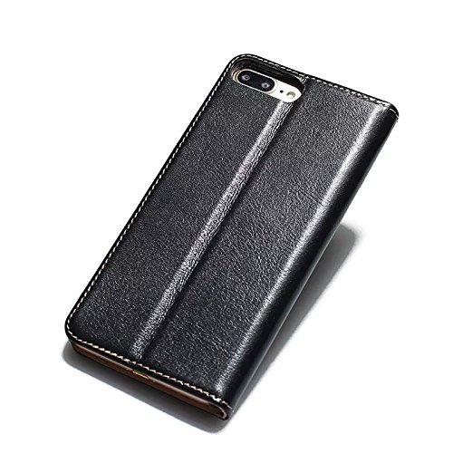 Soft Premium Echtes Leder Gehäuse Horizontale Flip Stand Case Cover mit Outer Card Slots für IPhone 7 Plus ( Color : Brown ) Black