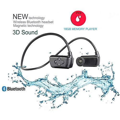 3 en 1 IPX8 Móvil Impermeable Grabador, 16GB MP3 Player, Natación - Auriculares Deporte Inalámbrico Auriculares Bluetooth Natación Buceo Auriculares Trabajo para 10 Horas Subacuática 10 Metros - Negro