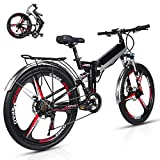 Wheel-hy Elettrica Pieghevole Bicicletta Mountain elettrica Bici, 350W 48V 10.4Ah, Shimano 21 velocità Freni a Disco